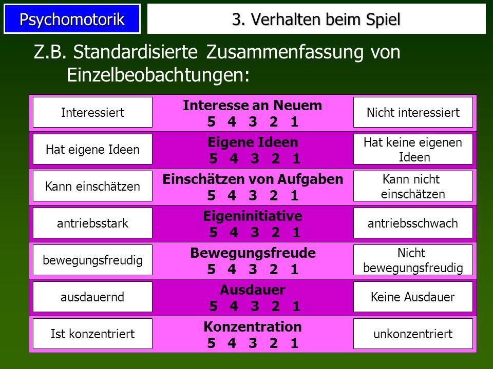 Psychomotorik 3. Verhalten beim Spiel Z.B. Standardisierte Zusammenfassung von Einzelbeobachtungen: Interesse an Neuem 5 4 3 2 1 InteressiertNicht int