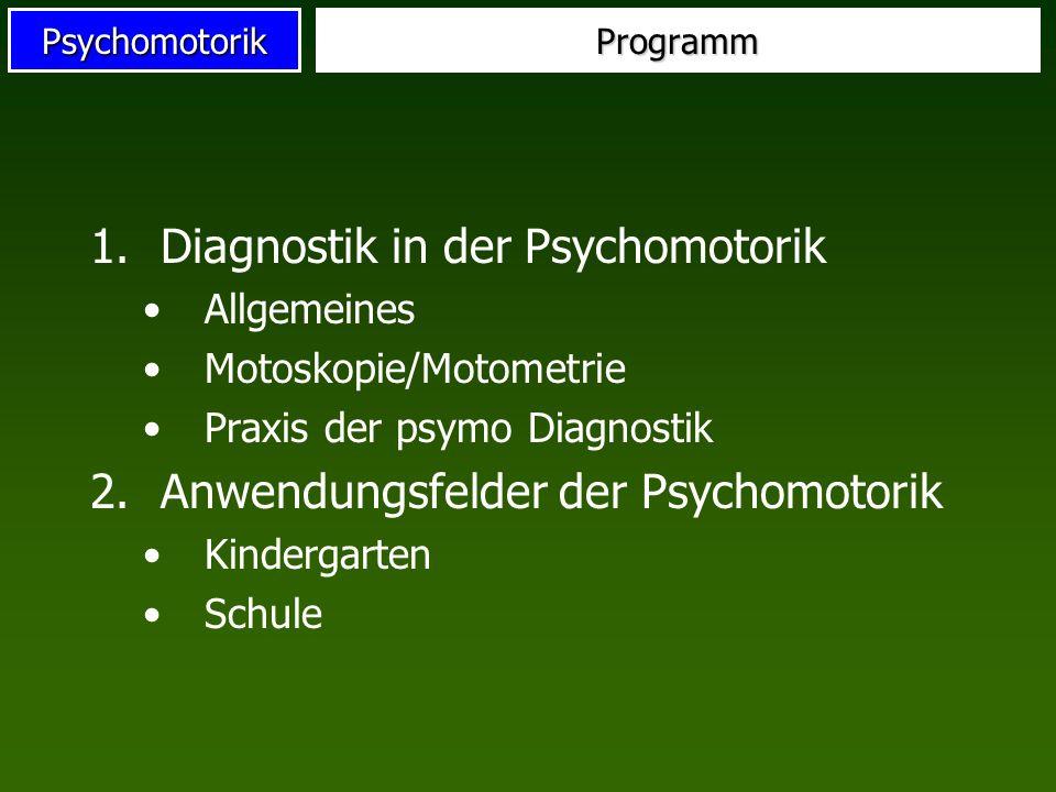 PsychomotorikProgramm 1.Diagnostik in der Psychomotorik Allgemeines Motoskopie/Motometrie Praxis der psymo Diagnostik 2.Anwendungsfelder der Psychomot