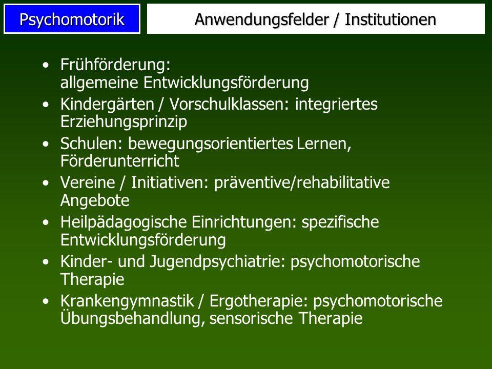 Psychomotorik Anwendungsfelder / Institutionen Frühförderung: allgemeine Entwicklungsförderung Kindergärten / Vorschulklassen: integriertes Erziehungs