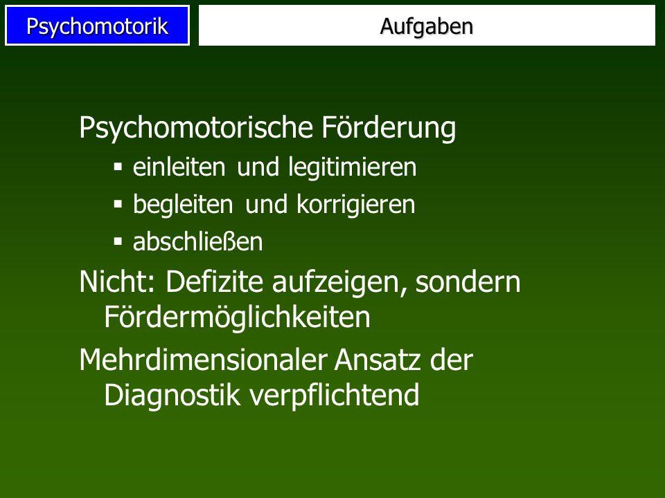 PsychomotorikAufgaben Psychomotorische Förderung einleiten und legitimieren begleiten und korrigieren abschließen Nicht: Defizite aufzeigen, sondern F