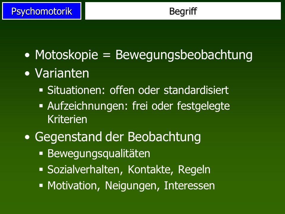 PsychomotorikBegriff Motoskopie = Bewegungsbeobachtung Varianten Situationen: offen oder standardisiert Aufzeichnungen: frei oder festgelegte Kriterie