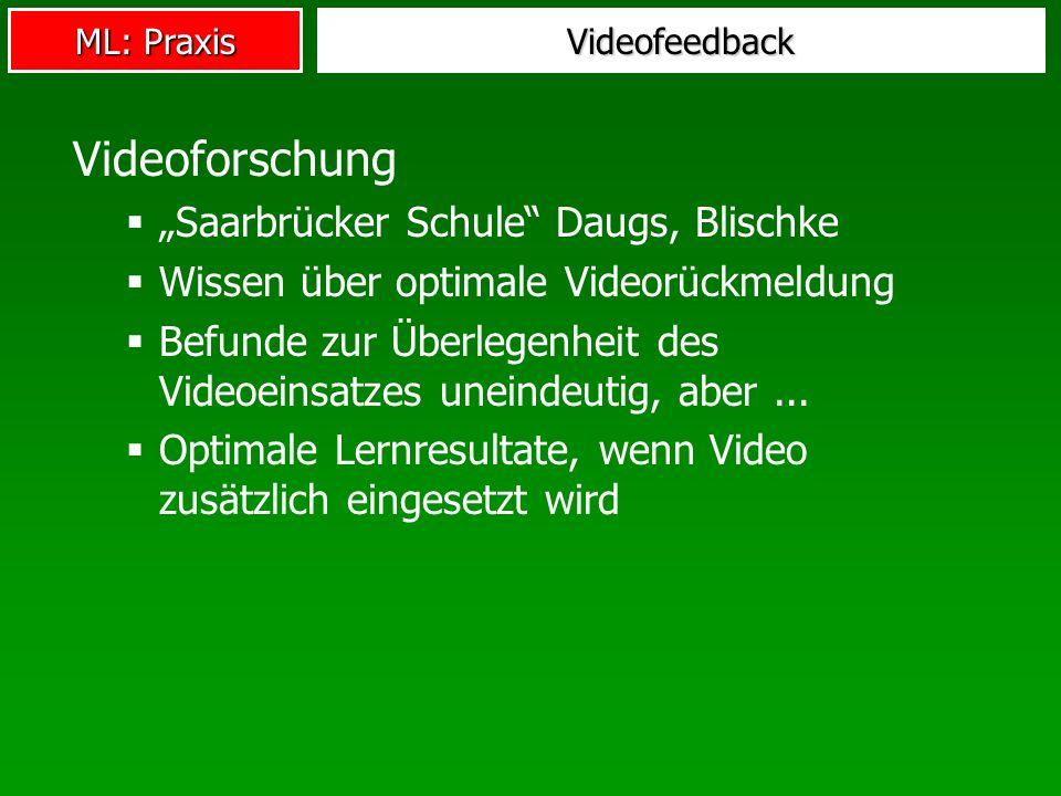 ML: Praxis Videofeedback Videoforschung Saarbrücker Schule Daugs, Blischke Wissen über optimale Videorückmeldung Befunde zur Überlegenheit des Videoeinsatzes uneindeutig, aber...