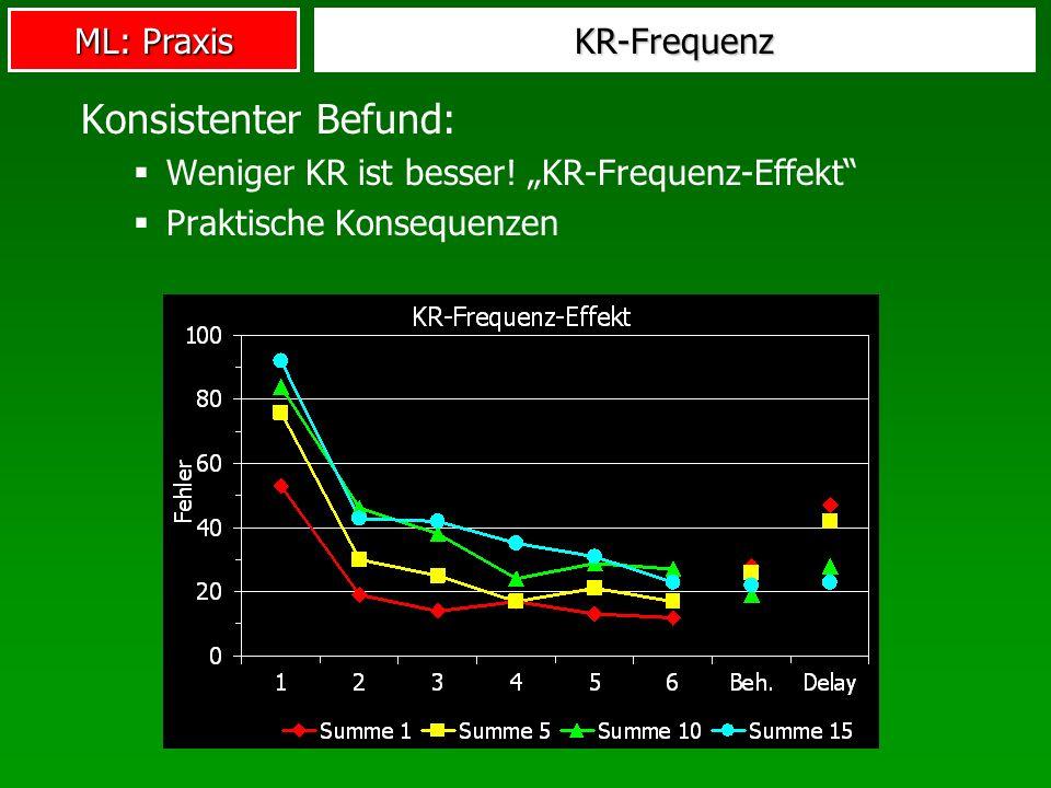 ML: Praxis KR-Frequenz Konsistenter Befund: Weniger KR ist besser.