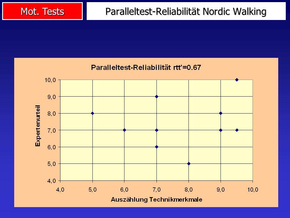 Mot. Tests Paralleltest-Reliabilität Nordic Walking