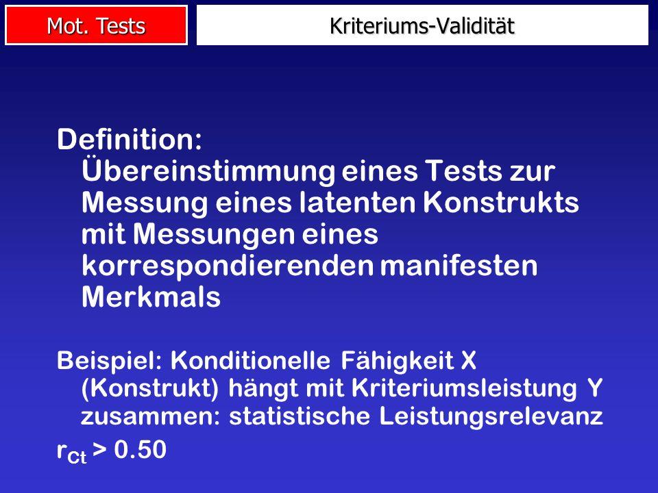 Mot. Tests Definition: Übereinstimmung eines Tests zur Messung eines latenten Konstrukts mit Messungen eines korrespondierenden manifesten Merkmals Be