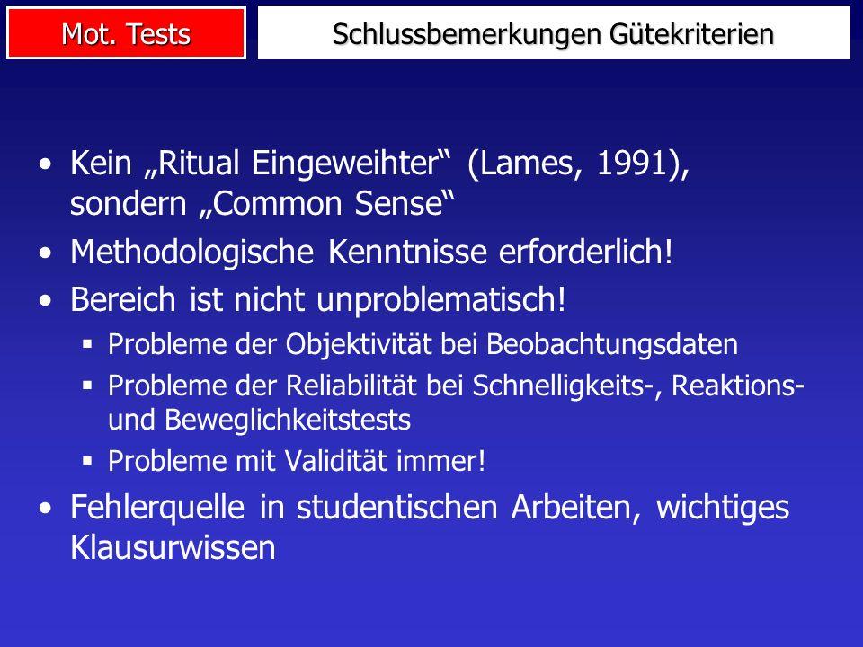 Mot. Tests Kein Ritual Eingeweihter (Lames, 1991), sondern Common Sense Methodologische Kenntnisse erforderlich! Bereich ist nicht unproblematisch! Pr