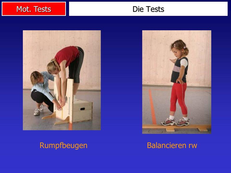 Mot. Tests Die Tests Balancieren rwRumpfbeugen