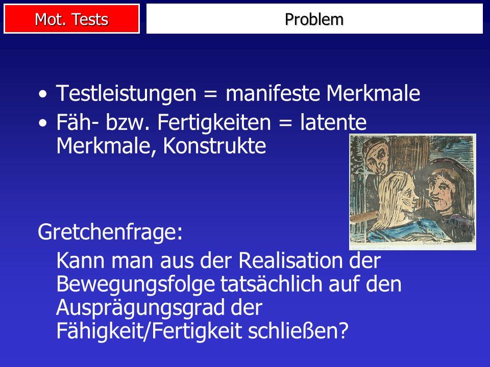 Mot. Tests Problem Testleistungen = manifeste Merkmale Fäh- bzw. Fertigkeiten = latente Merkmale, Konstrukte Gretchenfrage: Kann man aus der Realisati