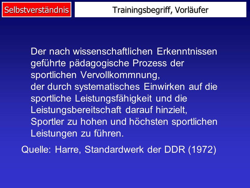 Selbstverständnis Trainingsbegriff, Vorläufer Der nach wissenschaftlichen Erkenntnissen geführte pädagogische Prozess der sportlichen Vervollkommnung,