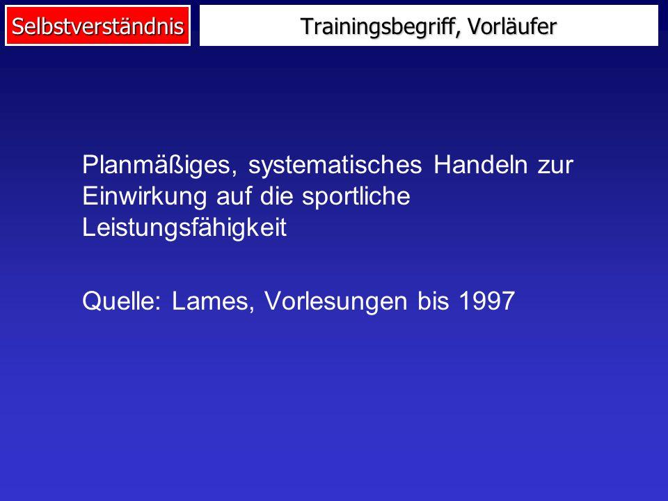 Selbstverständnis Trainingsbegriff, Vorläufer Planmäßiges, systematisches Handeln zur Einwirkung auf die sportliche Leistungsfähigkeit Quelle: Lames, Vorlesungen bis 1997