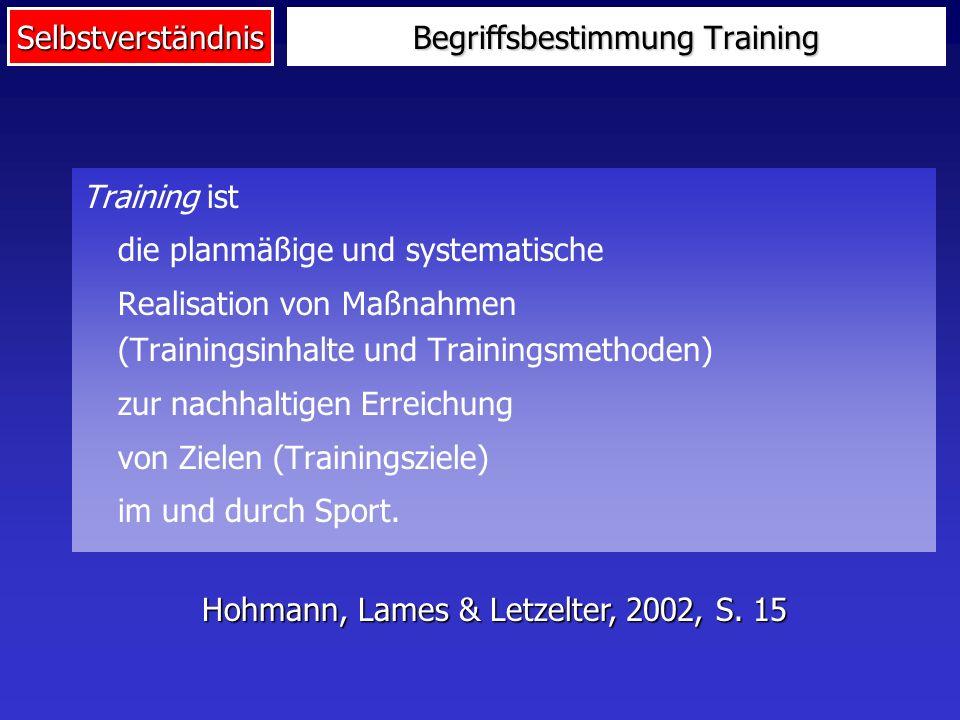 Selbstverständnis Begriffsbestimmung Training Training ist die planmäßige und systematische Realisation von Maßnahmen (Trainingsinhalte und Trainingsmethoden) zur nachhaltigen Erreichung von Zielen (Trainingsziele) im und durch Sport.