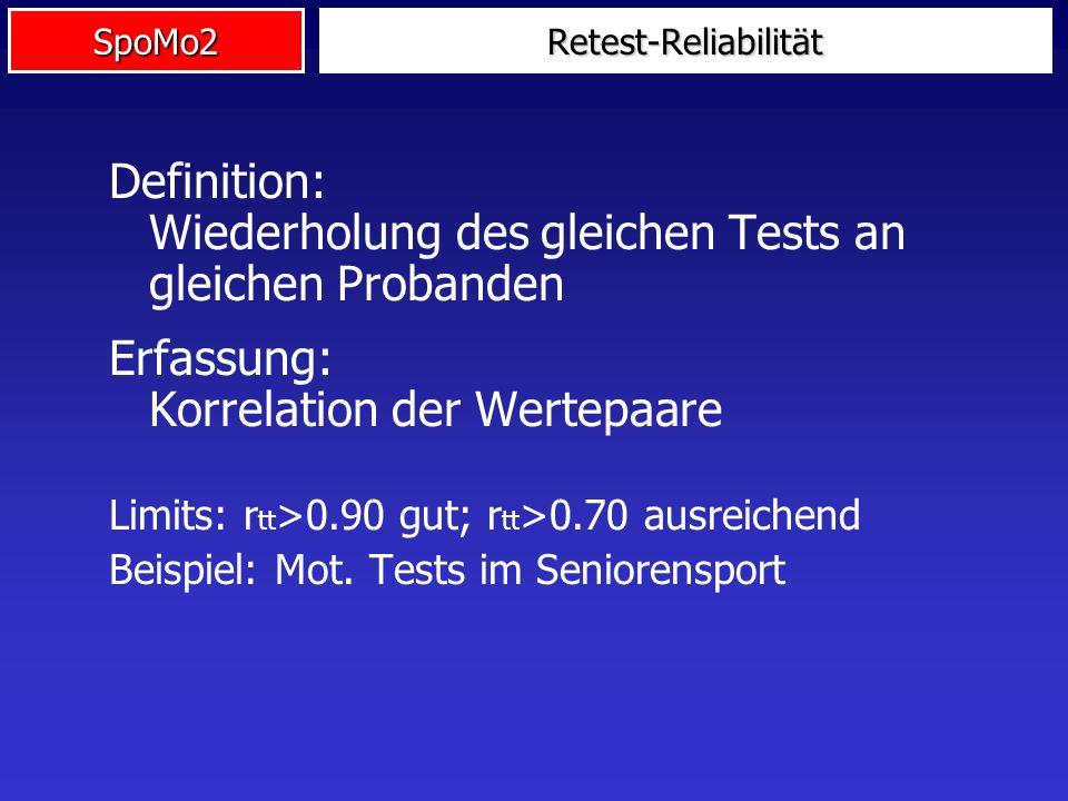 SpoMo2 Definition: Wiederholung des gleichen Tests an gleichen Probanden Erfassung: Korrelation der Wertepaare Limits: r tt >0.90 gut; r tt >0.70 ausr