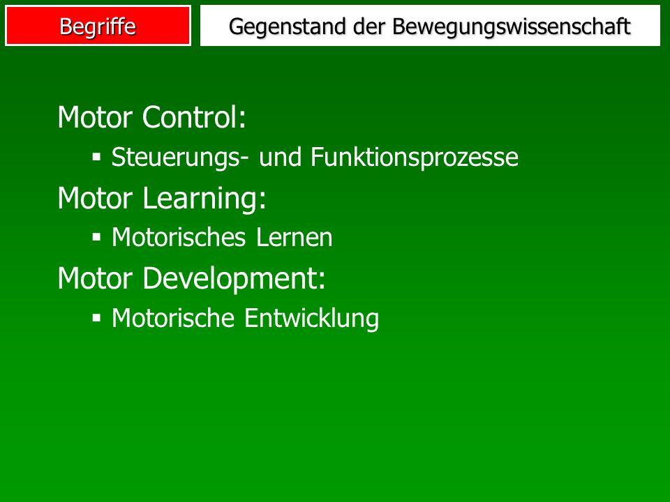 Begriffe Gegenstand der Bewegungswissenschaft Motor Control: Steuerungs- und Funktionsprozesse Motor Learning: Motorisches Lernen Motor Development: M