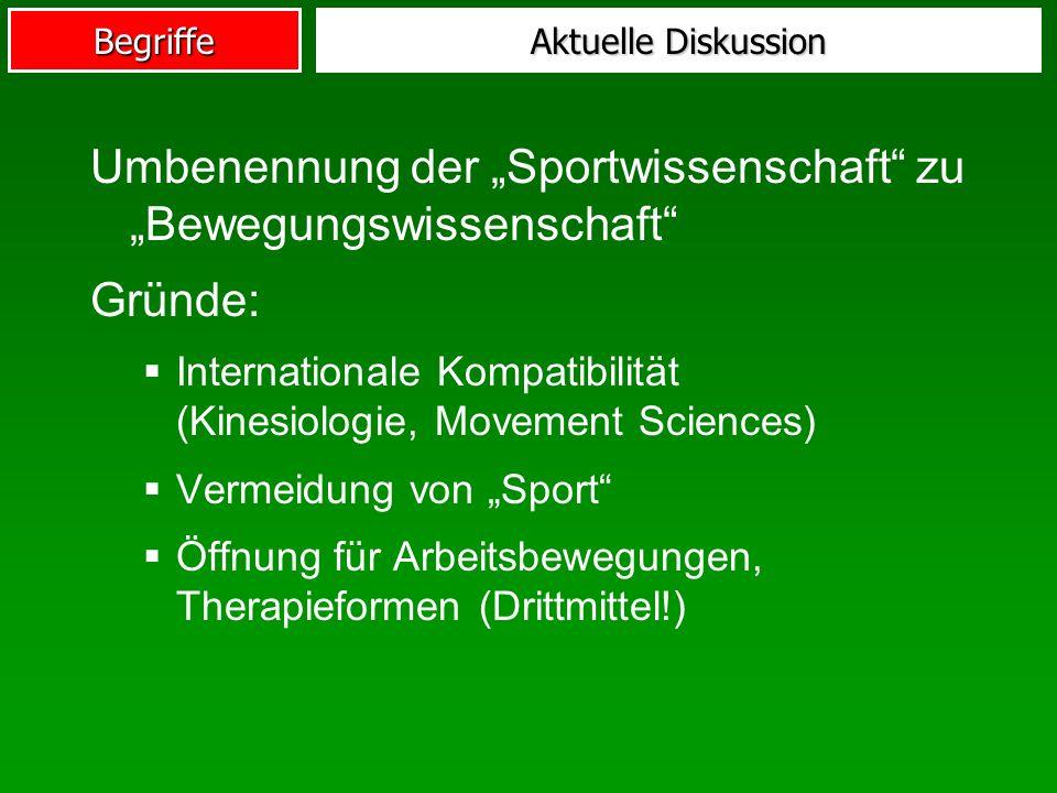 Begriffe Aktuelle Diskussion Umbenennung der Sportwissenschaft zu Bewegungswissenschaft Gründe: Internationale Kompatibilität (Kinesiologie, Movement