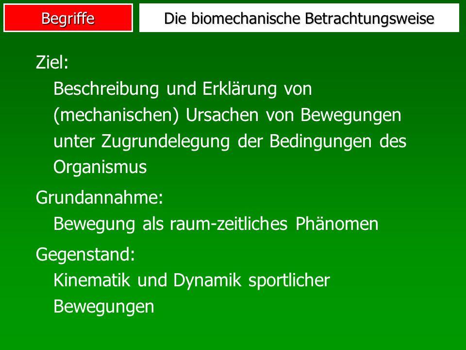 Begriffe Ziel: Beschreibung und Erklärung von (mechanischen) Ursachen von Bewegungen unter Zugrundelegung der Bedingungen des Organismus Grundannahme: