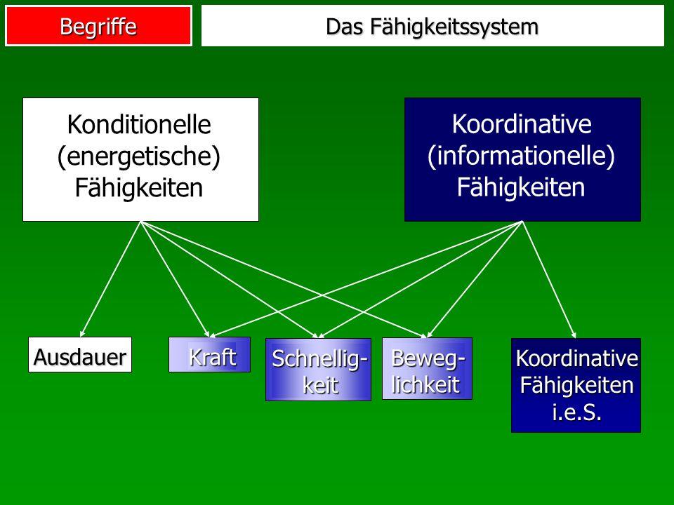 Begriffe Das Fähigkeitssystem Konditionelle (energetische) Fähigkeiten Koordinative (informationelle) Fähigkeiten Ausdauer KoordinativeFähigkeiteni.e.