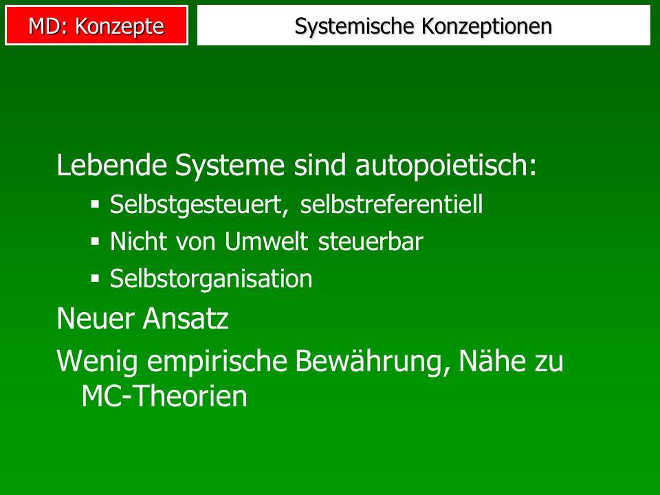 MD: Konzepte Systemische Konzeptionen Lebende Systeme sind autopoietisch: Selbstgesteuert, selbstreferentiell Nicht von Umwelt steuerbar Selbstorganisation Neuer Ansatz Wenig empirische Bewährung, Nähe zu MC-Theorien