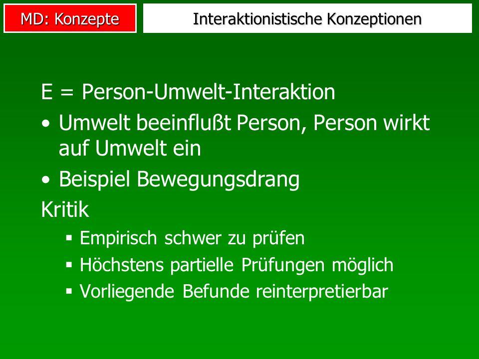 MD: Konzepte Interaktionistische Konzeptionen E = Person-Umwelt-Interaktion Umwelt beeinflußt Person, Person wirkt auf Umwelt ein Beispiel Bewegungsdr