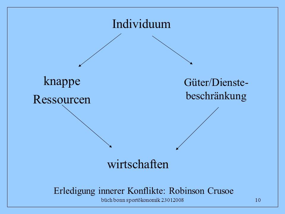 büch bonn sportökonomik 2301200810 Individuum Güter/Dienste- beschränkung wirtschaften knappe Ressourcen Erledigung innerer Konflikte: Robinson Crusoe