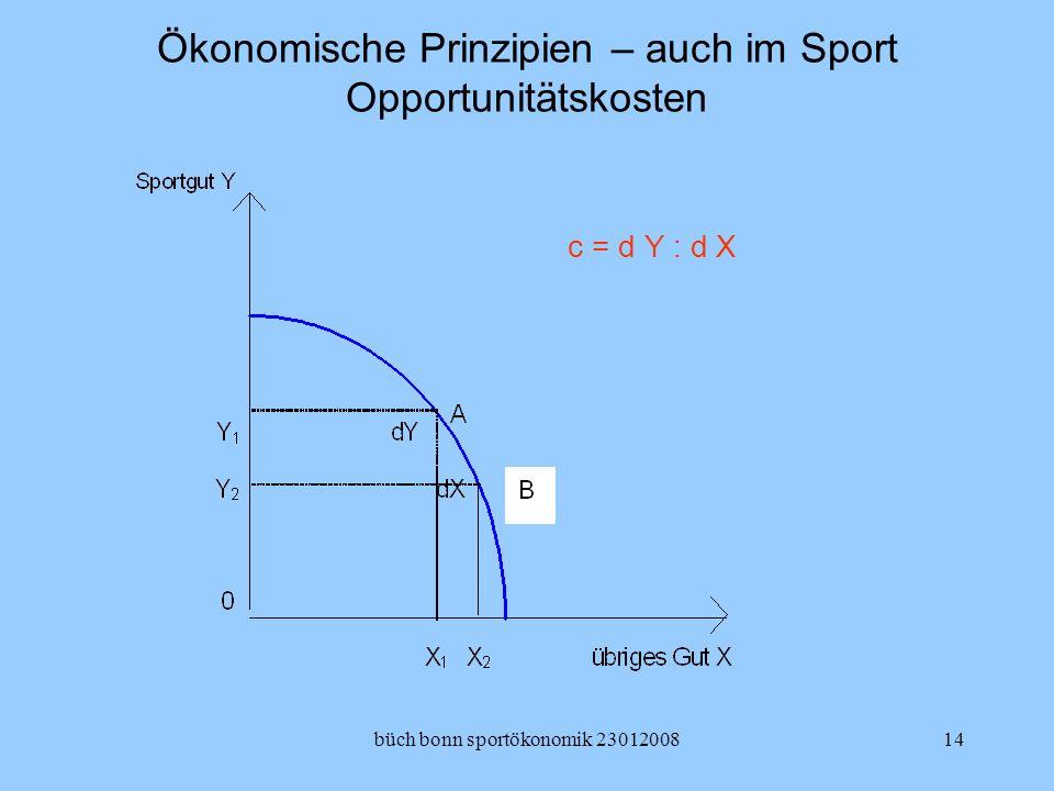 büch bonn sportökonomik 2301200814 Ökonomische Prinzipien – auch im Sport Opportunitätskosten c = d Y : d X