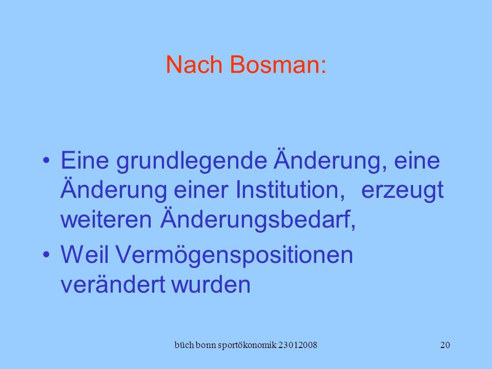 büch bonn sportökonomik 2301200820 Nach Bosman: Eine grundlegende Änderung, eine Änderung einer Institution, erzeugt weiteren Änderungsbedarf, Weil Ve