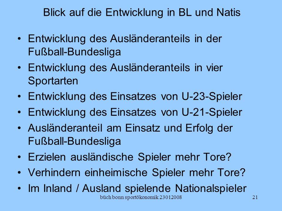 büch bonn sportökonomik 2301200821 Blick auf die Entwicklung in BL und Natis Entwicklung des Ausländeranteils in der Fußball-Bundesliga Entwicklung de