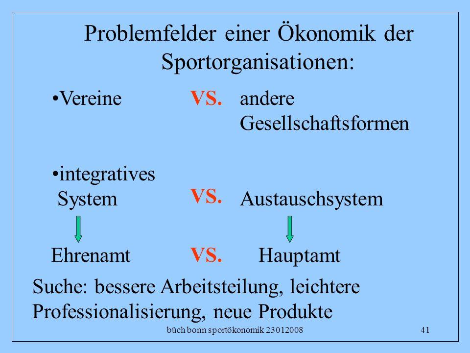 büch bonn sportökonomik 2301200841 Problemfelder einer Ökonomik der Sportorganisationen: Vereine integratives System VS. andere Gesellschaftsformen Au