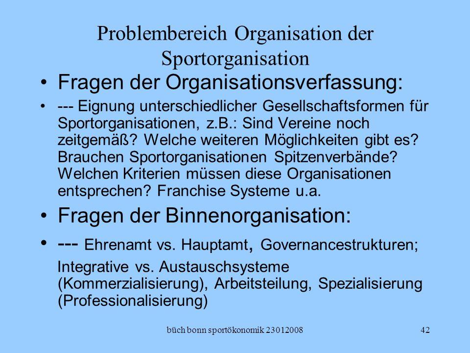 büch bonn sportökonomik 2301200842 Problembereich Organisation der Sportorganisation Fragen der Organisationsverfassung: --- Eignung unterschiedlicher