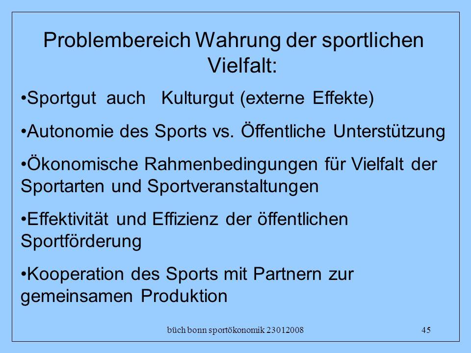 büch bonn sportökonomik 2301200845 Problembereich Wahrung der sportlichen Vielfalt: Sportgut auch Kulturgut (externe Effekte) Autonomie des Sports vs.