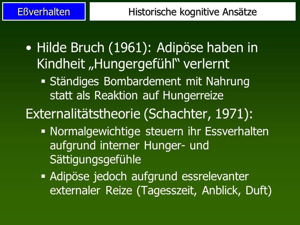 Eßverhalten Historische kognitive Ansätze Hilde Bruch (1961): Adipöse haben in Kindheit Hungergefühl verlernt Ständiges Bombardement mit Nahrung statt
