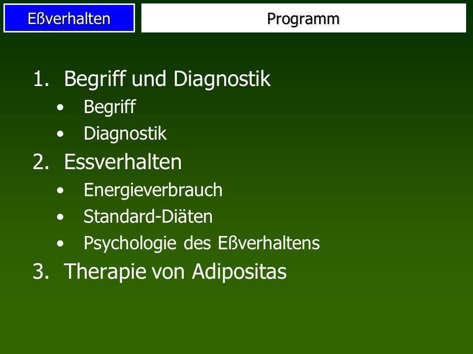 EßverhaltenProgramm 1.Begriff und Diagnostik Begriff Diagnostik 2.Essverhalten Energieverbrauch Standard-Diäten Psychologie des Eßverhaltens 3.Therapi