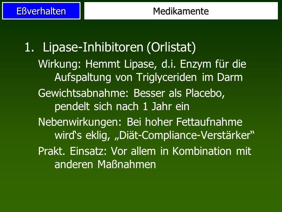 EßverhaltenMedikamente 1.Lipase-Inhibitoren (Orlistat) Wirkung: Hemmt Lipase, d.i. Enzym für die Aufspaltung von Triglyceriden im Darm Gewichtsabnahme