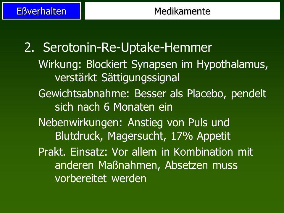 EßverhaltenMedikamente 2.Serotonin-Re-Uptake-Hemmer Wirkung: Blockiert Synapsen im Hypothalamus, verstärkt Sättigungssignal Gewichtsabnahme: Besser al