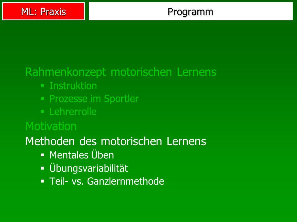 ML: Praxis Programm Rahmenkonzept motorischen Lernens Instruktion Prozesse im Sportler Lehrerrolle Motivation Methoden des motorischen Lernens Mentale