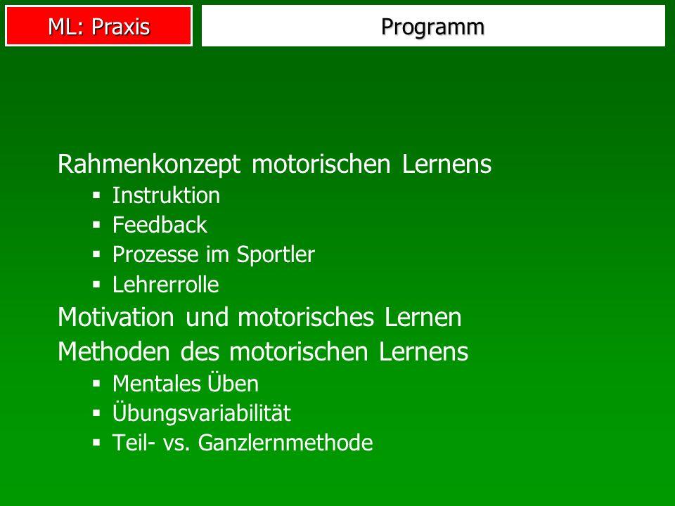 ML: Praxis Programm Rahmenkonzept motorischen Lernens Instruktion Feedback Prozesse im Sportler Lehrerrolle Motivation und motorisches Lernen Methoden