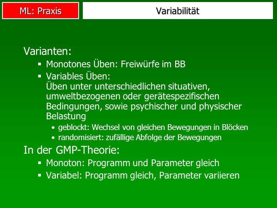 ML: Praxis Variabilität Varianten: Monotones Üben: Freiwürfe im BB Variables Üben: Üben unter unterschiedlichen situativen, umweltbezogenen oder gerät