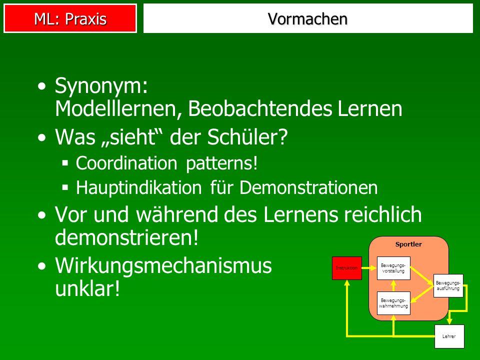 ML: Praxis Teil- vs.Ganzlernmethode Bewegungsvollzug ganzheitlich, aber...