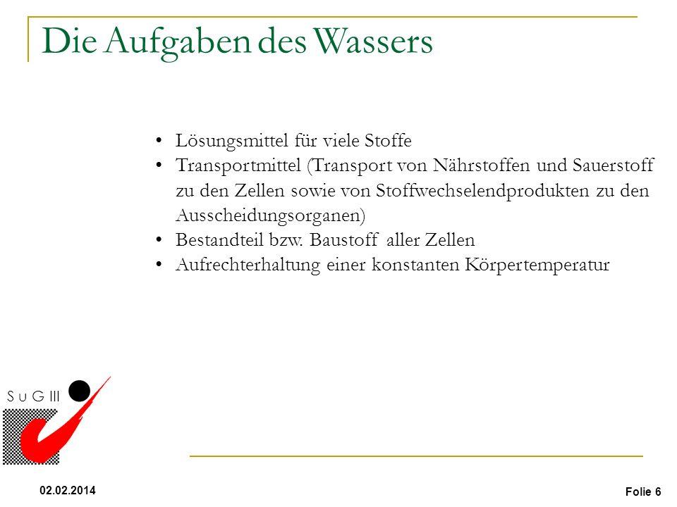 Folie 6 02.02.2014 S u G III Flüssigkeit Lösungsmittel für viele Stoffe Transportmittel (Transport von Nährstoffen und Sauerstoff zu den Zellen sowie