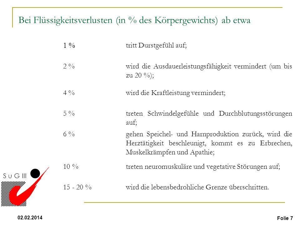 Folie 7 02.02.2014 S u G III Flüssigkeit 1 % tritt Durstgefühl auf; 2 %wird die Ausdauerleistungsfähigkeit vermindert (um bis zu 20 %); 4 %wird die Kr