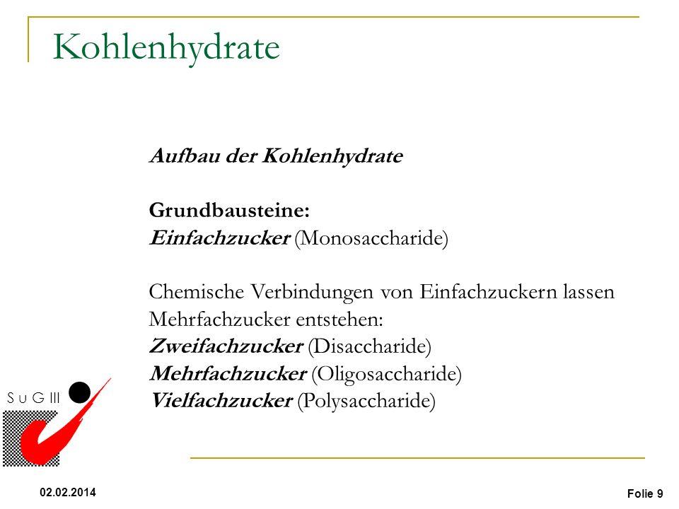 Folie 9 02.02.2014 S u G III Kohlenhydrate Aufbau der Kohlenhydrate Grundbausteine: Einfachzucker (Monosaccharide) Chemische Verbindungen von Einfachz