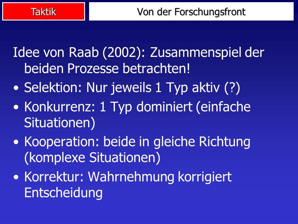 Taktik Von der Forschungsfront Idee von Raab (2002): Zusammenspiel der beiden Prozesse betrachten! Selektion: Nur jeweils 1 Typ aktiv (?) Konkurrenz:
