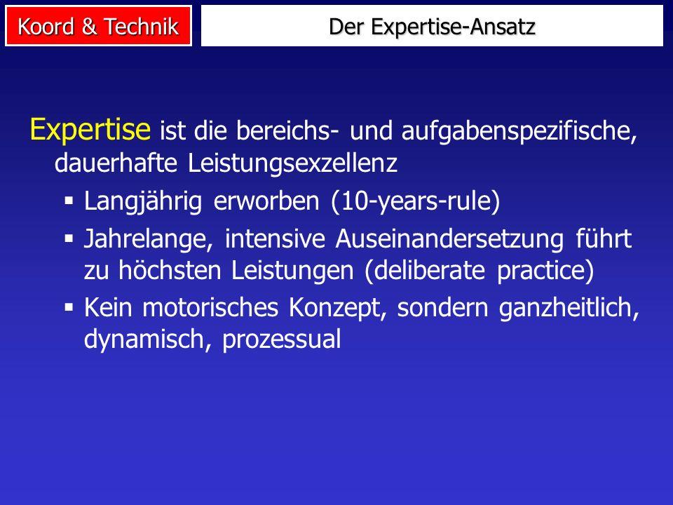 Koord & Technik Der Expertise-Ansatz Expertise ist die bereichs- und aufgabenspezifische, dauerhafte Leistungsexzellenz Langjährig erworben (10-years-