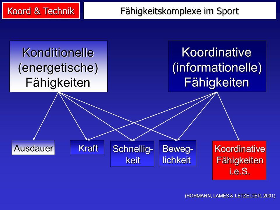 Koord & Technik Fähigkeitskomplexe im Sport (HOHMANN, LAMES & LETZELTER, 2001) Konditionelle(energetische)Fähigkeiten Koordinative(informationelle)Fäh