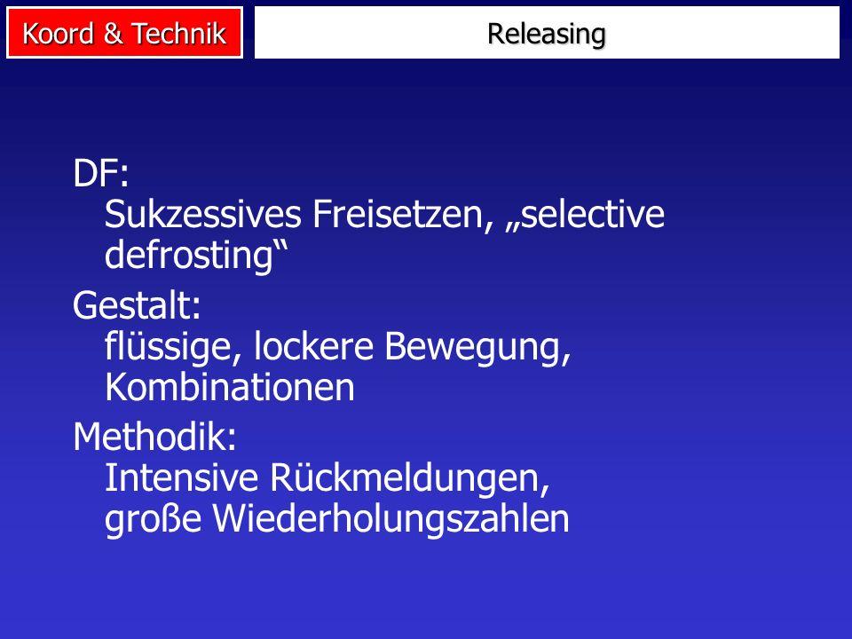 Koord & Technik Releasing DF: Sukzessives Freisetzen, selective defrosting Gestalt: flüssige, lockere Bewegung, Kombinationen Methodik: Intensive Rück