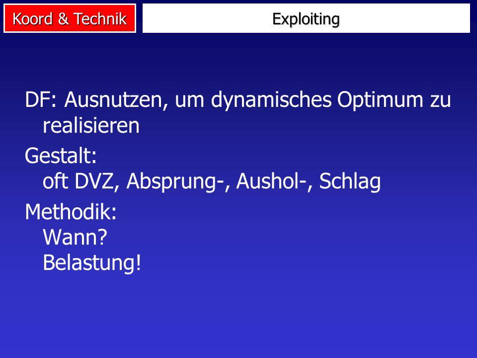 Koord & Technik Exploiting DF: Ausnutzen, um dynamisches Optimum zu realisieren Gestalt: oft DVZ, Absprung-, Aushol-, Schlag Methodik: Wann? Belastung