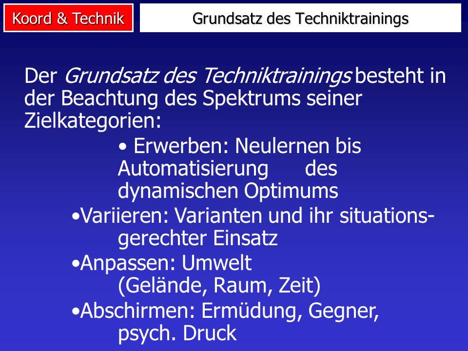 Koord & Technik Grundsatz des Techniktrainings Der Grundsatz des Techniktrainings besteht in der Beachtung des Spektrums seiner Zielkategorien: Erwerb