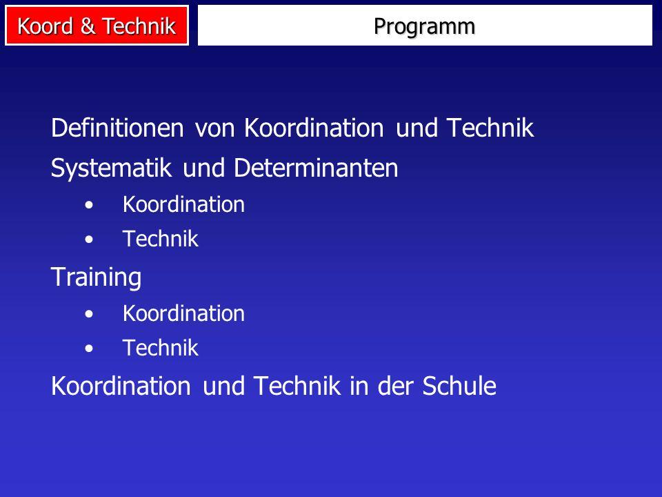 Koord & Technik Programm Definitionen von Koordination und Technik Systematik und Determinanten Koordination Technik Training Koordination Technik Koo