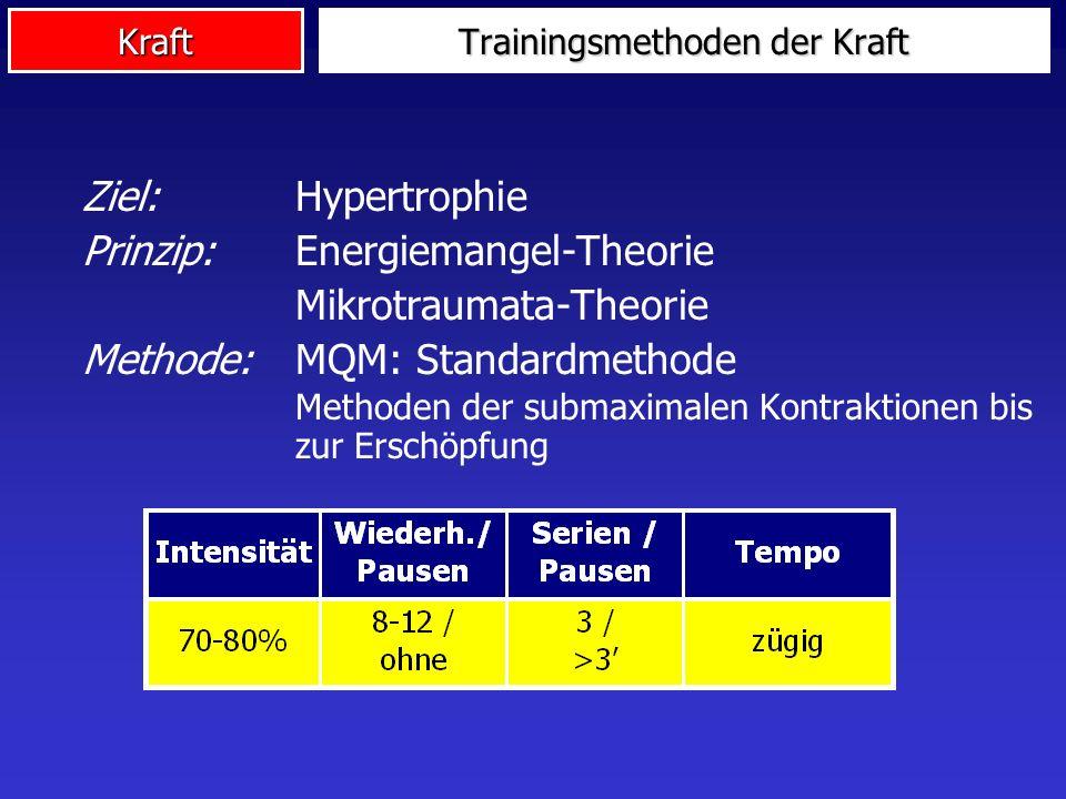Kraft Ziel:Hypertrophie Prinzip: Energiemangel-Theorie Mikrotraumata-Theorie Methode:MQM: Standardmethode Methoden der submaximalen Kontraktionen bis