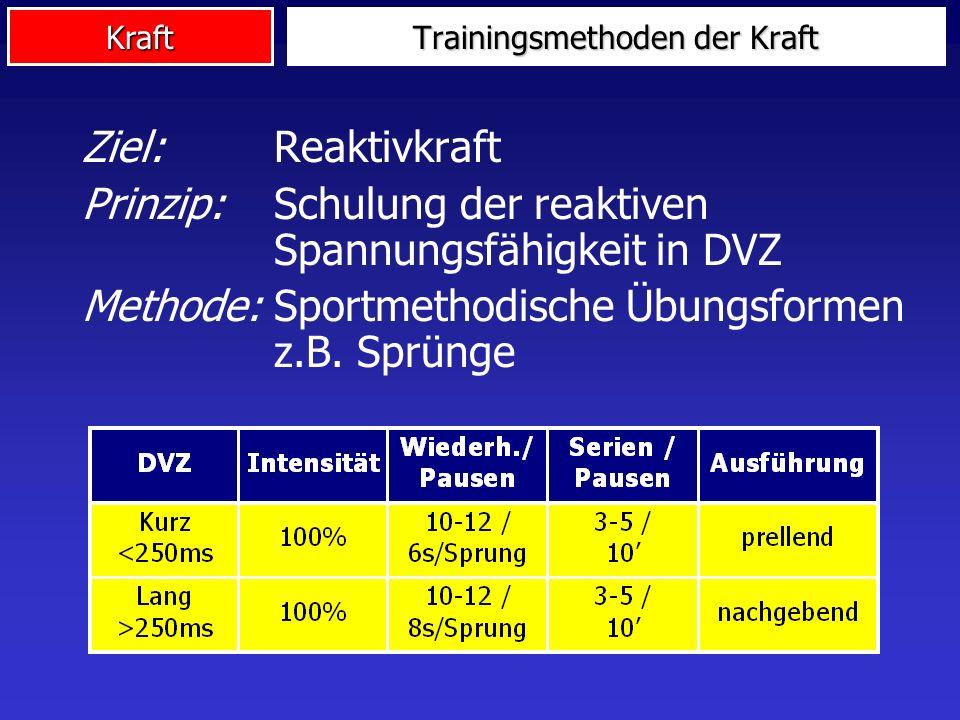 Kraft Ziel:Reaktivkraft Prinzip: Schulung der reaktiven Spannungsfähigkeit in DVZ Methode: Sportmethodische Übungsformen z.B. Sprünge Trainingsmethode