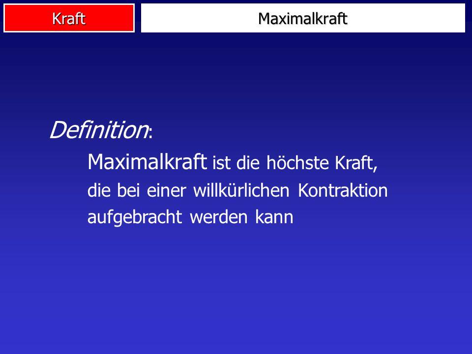 Kraft Definition : Maximalkraft ist die höchste Kraft, die bei einer willkürlichen Kontraktion aufgebracht werden kann Maximalkraft